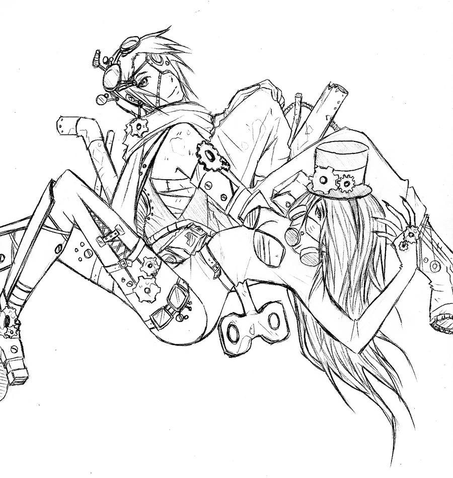 Line Art Zero : Jayen zero steampunk lineart by feicoon on deviantart