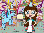 Rainbow and Blythe with B-Day Cake