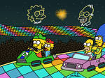 Simpsons Racing at Rainbow Road
