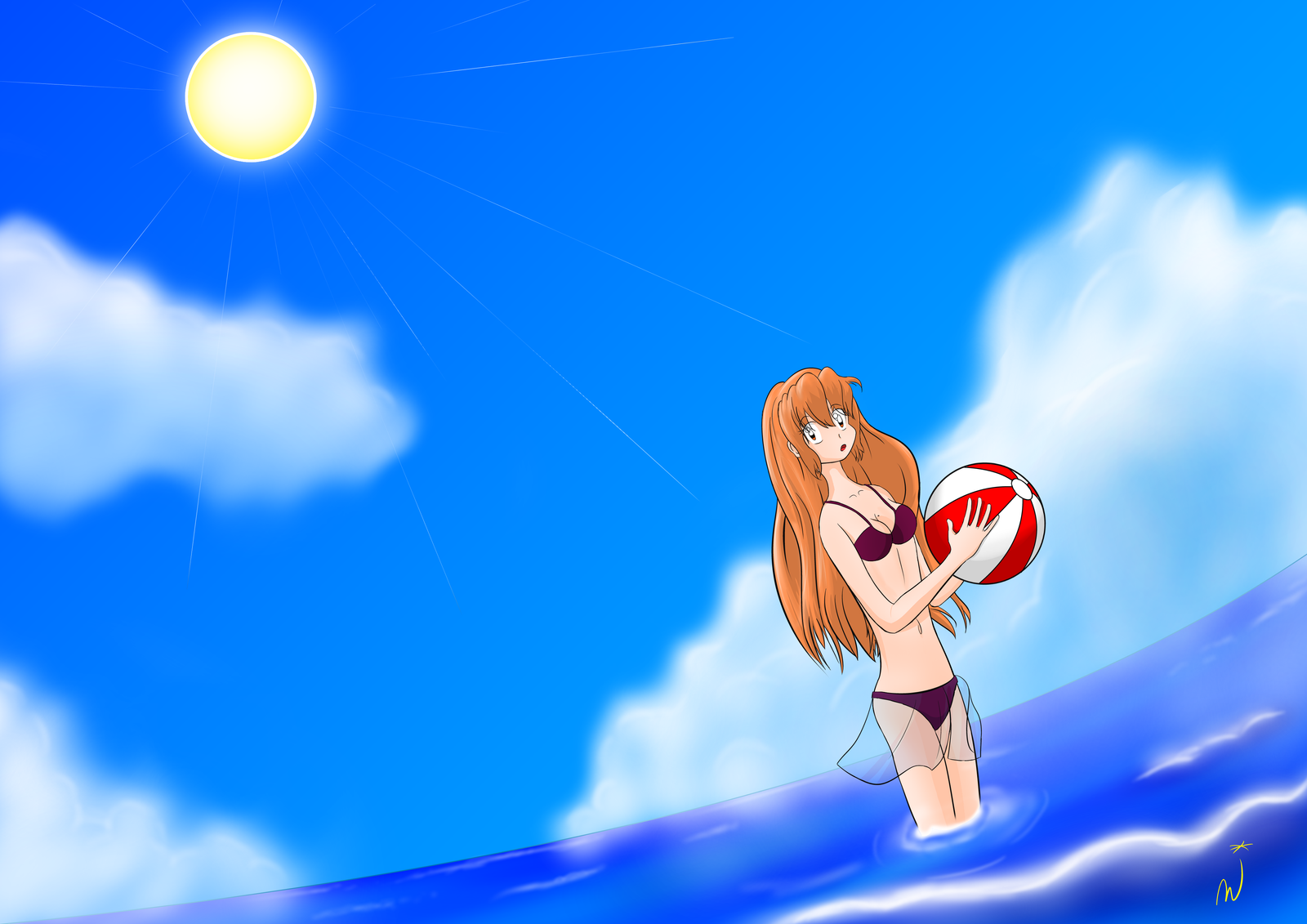 Mikuru On the Beach by Dumdodoor