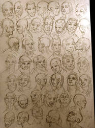 constructive anatomy practice. expression sheet. by Imaginationland1992