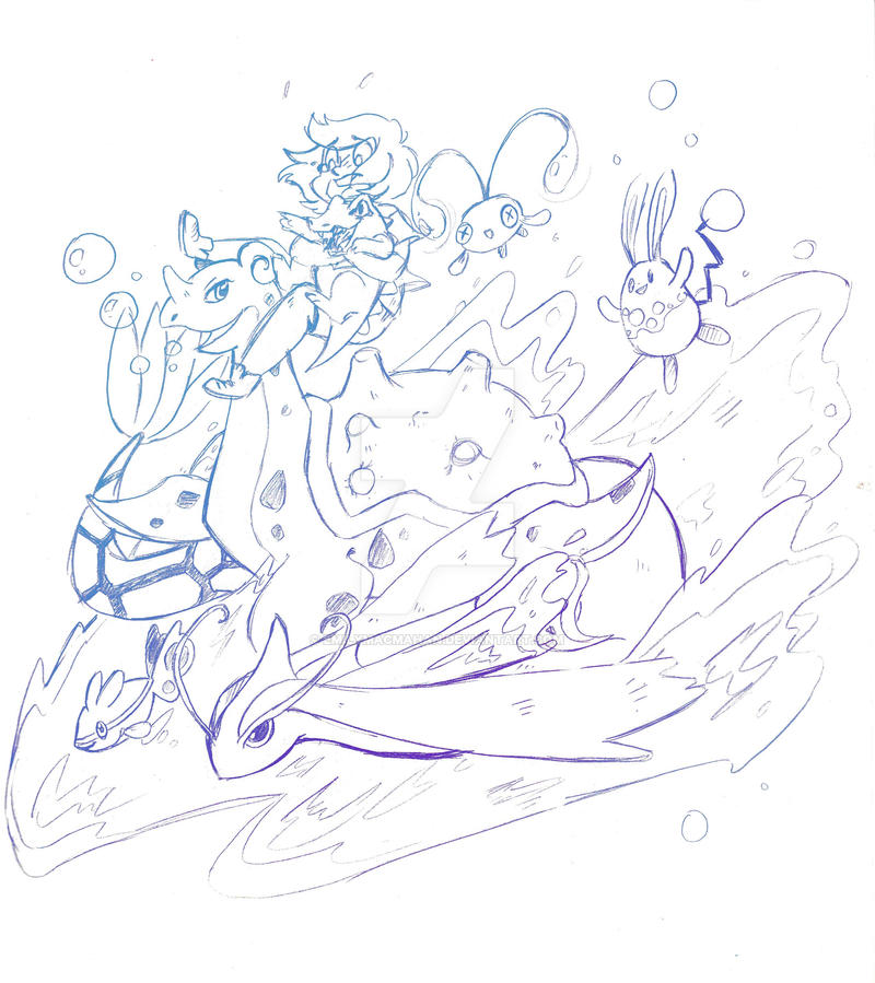 Riding the waves--sketch by EmilyMacMahan