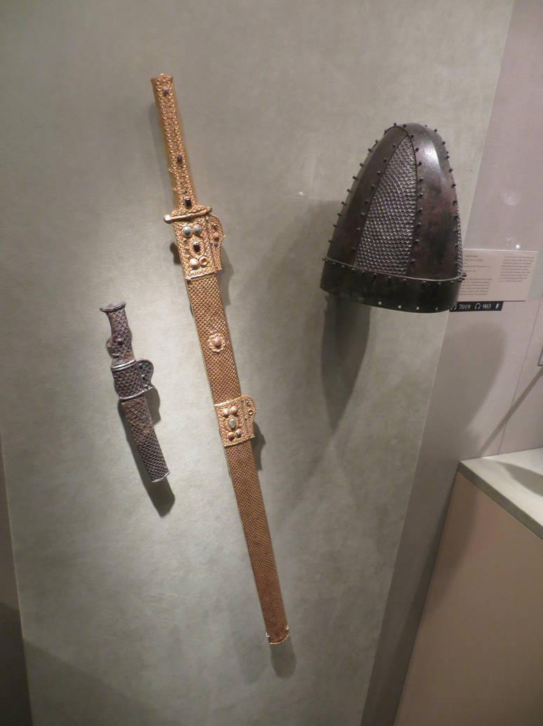 Sassanid Spangenhelm longsword and dagger  by
