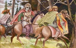 Arminius and Inguiomer flee Idistaviso by deWitteillustration