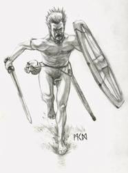 Naked Gallic warrior by deWitteillustration