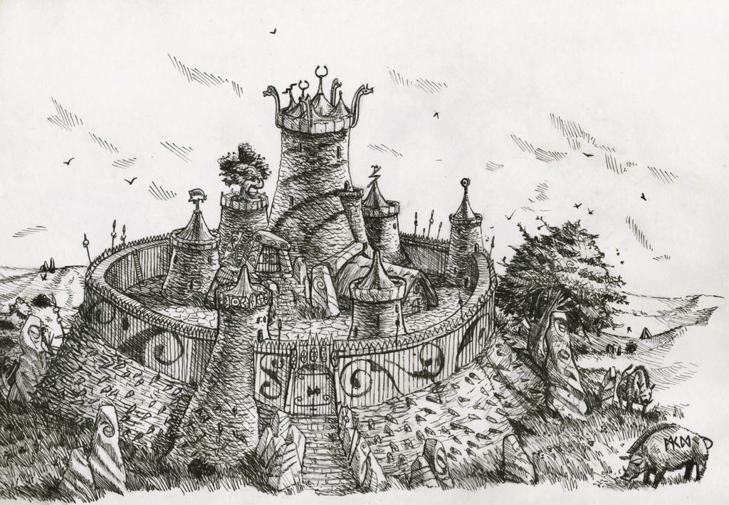 Warhammer Albion - small hillfort (inked) by deWitteillustration