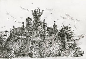 Warhammer Albion - small hillfort (inked) by deWitteillustration