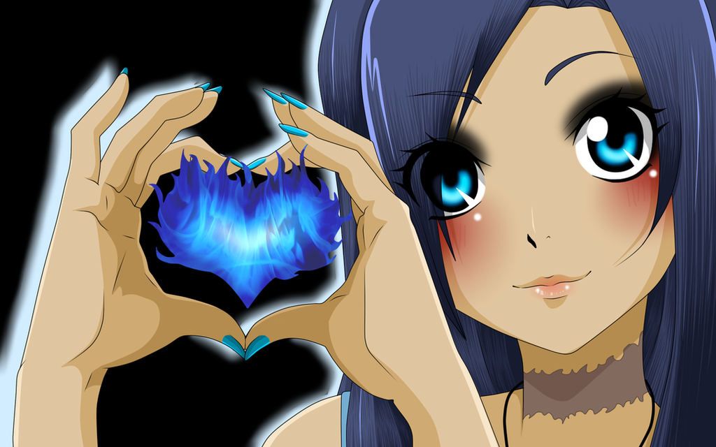Fairy Tail Oc - Kate Blue Fire Heart by Kate-BlueFire on ...
