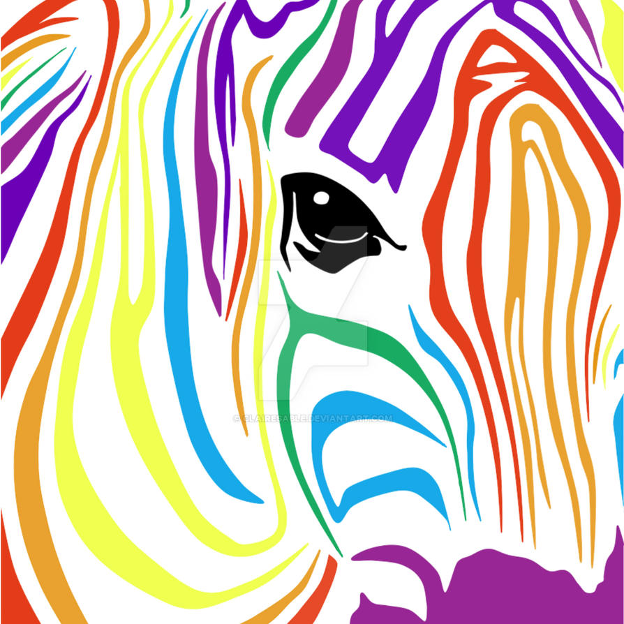 Rainbow Zebra by ClaireSable