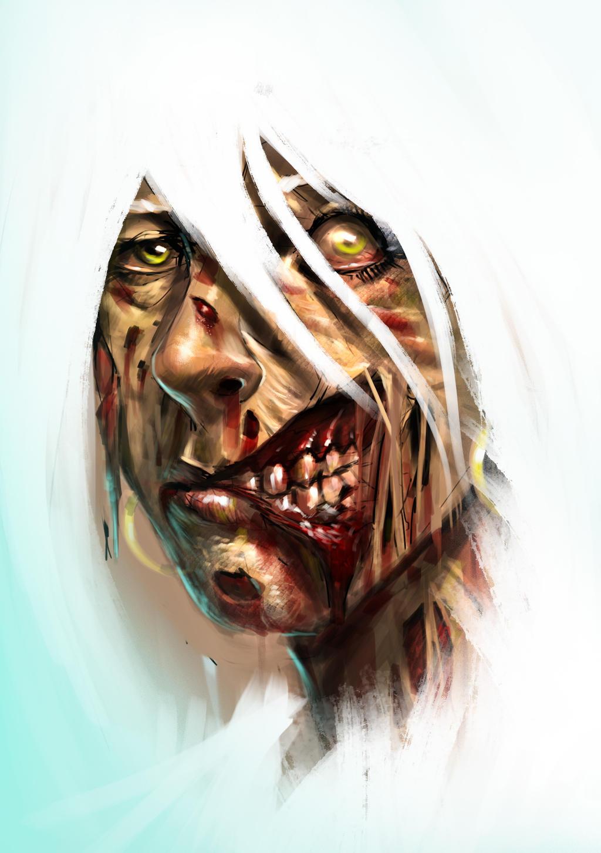 Zombie Girl Digital Painting