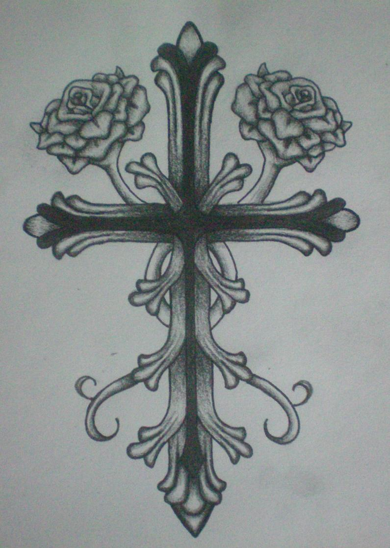 Cross and Roses by britkneemo on DeviantArt