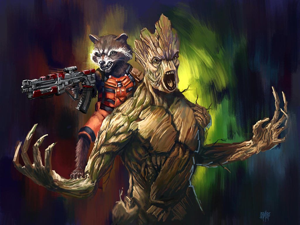 Star Lord And Rocket Raccoon By Timothygreenii On Deviantart: 13 NoH Day 3 Rocket And Groot By Grimbro On DeviantArt