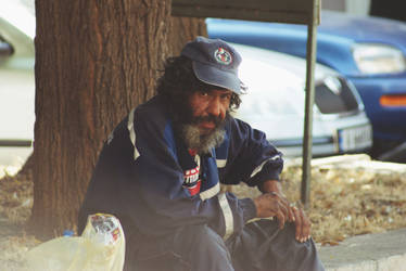 A homeless man in Bulgaria