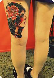 girl tattoo on thigh by xveganmafiax