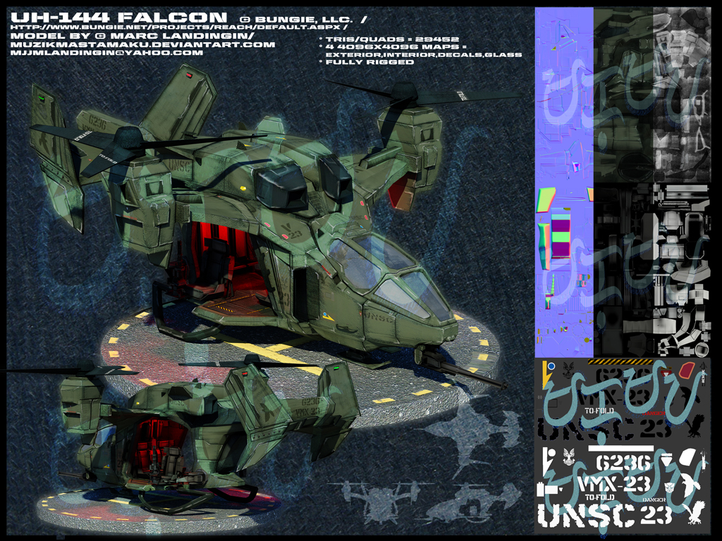 UH-144 Falcon: Halo Reach by muzikmastamaku