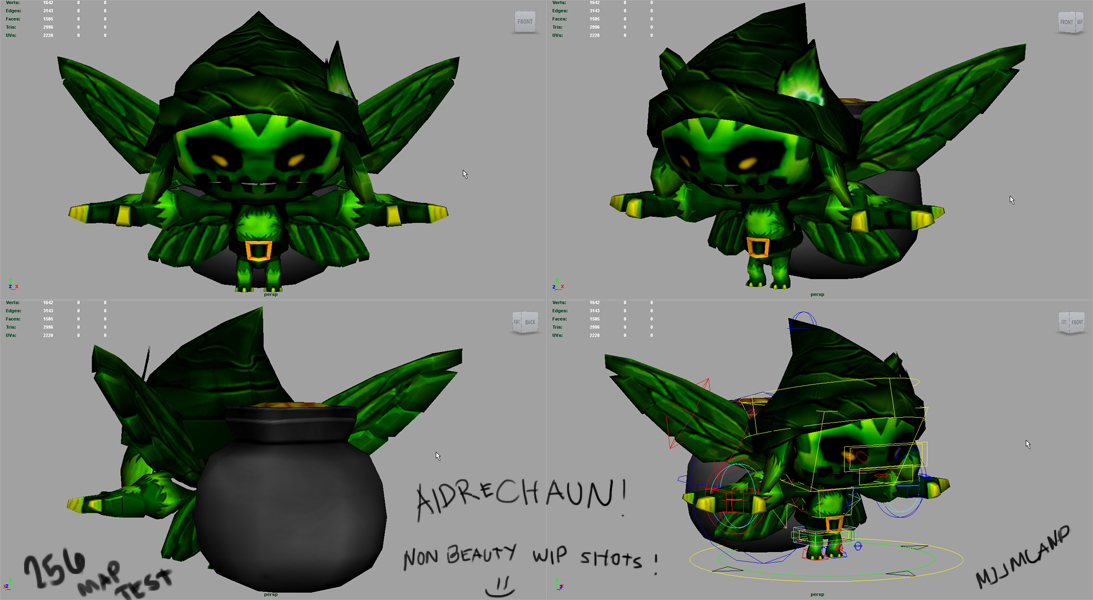 Aidrechaun Final Model and Rig WIP Shots by muzikmastamaku