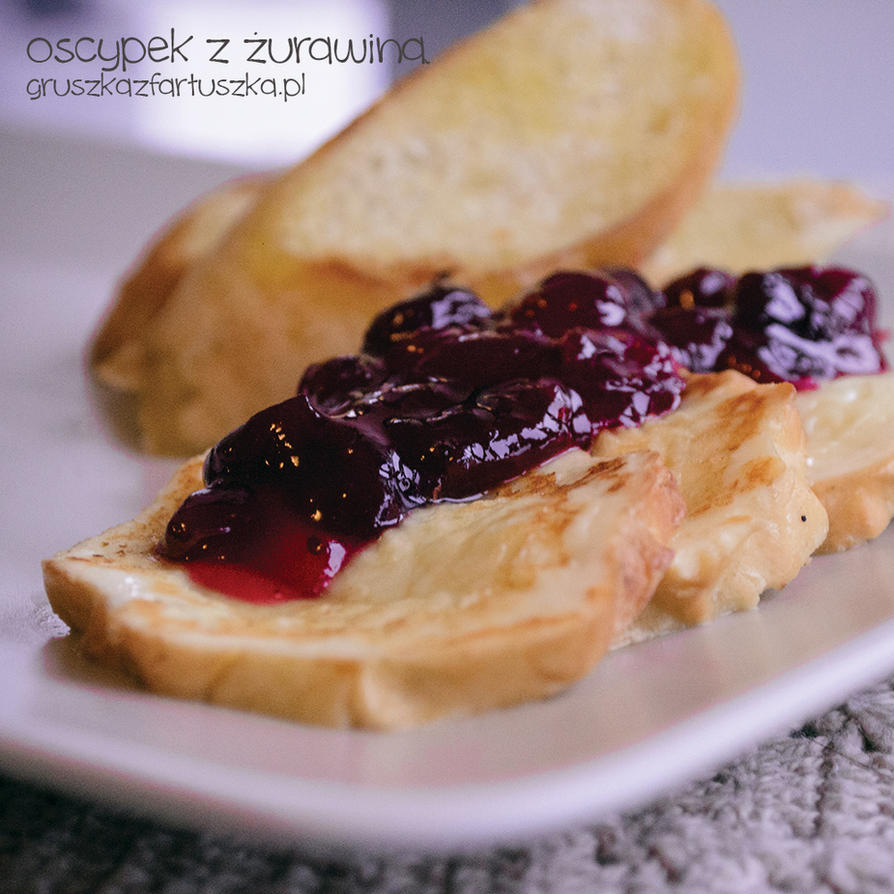 oscypek - polish sheep cheese with cranberry sauce by Pokakulka