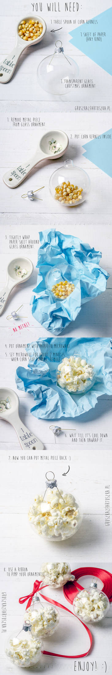 popcorn glass ornament