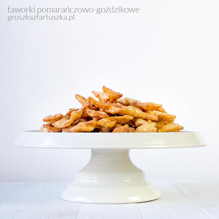 sticky orange faworki - polish fried cookies by Pokakulka