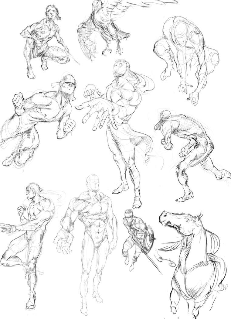 Figure drawings (from imagination) by Joel-Lagerwall