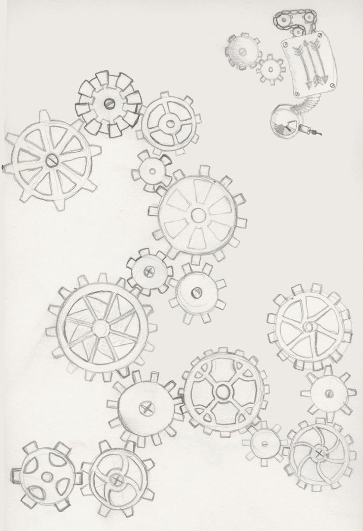 Gear Tattoo 2 by KestraJeanGear Tattoo Drawing