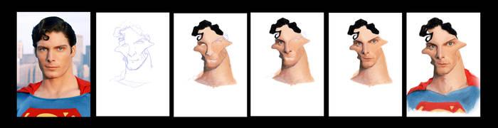 Superman Caricature - process