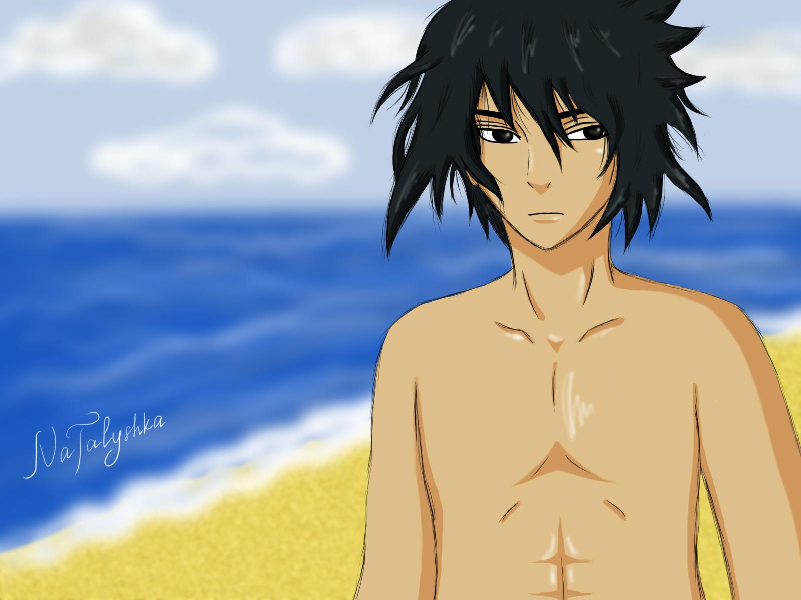 Naruto - Sasuke on the Beach by NaTalyshka