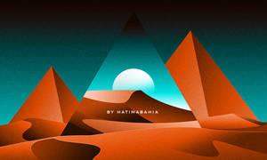 80s Retrowave futuristic Pyramids in desert