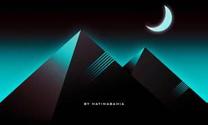 Dark 80s Retrowave futuristic Pyramids