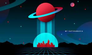 80s Retrowave futuristic synthwave artwork