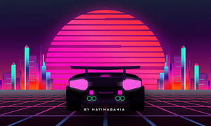 Pyramids In 80s Styled car driving with sunset