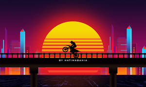 City In 80s Styled biker driving with sunset