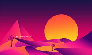 Retro futuristic desert with sun and pyramid