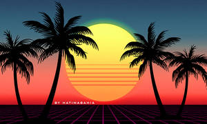 80s Retrowave futuristic palms and sunset