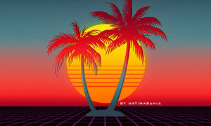 Retrowave synthwave palms and sunset background