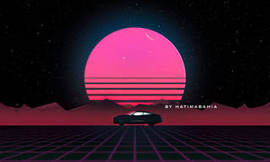 80s retrowave Styled car driving with sunset