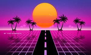 80s road Retrowave futuristic palms and sunset