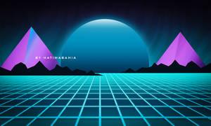Abstract 80s Synthwave futuristic retro design
