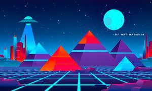 80s Retrowave futuristic city with Pyramids