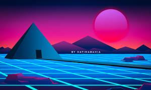 80s Retrowave futuristic mountain landscape
