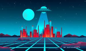 80s Retrowave futuristic city with alien abduction