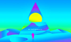 Vaporwave synthwave lost in desert with pyramids