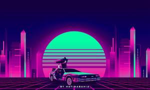 80s Delorean car synthwave futuristic car in city