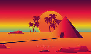 80s Retro Pyramids vaporwave landscape background