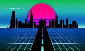 80s Retro city vaporwave landscape background