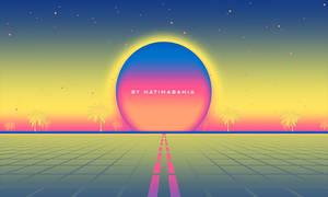 80s Retro vaporwave landscape background