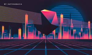 80s 90s Retro city synthwave landscape
