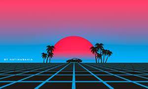 80s Retro synthwave vaporwave car landscape