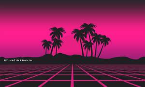 80s Retro synthwave landscape background