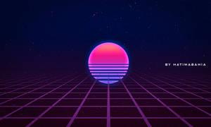 Dark 90s 80s Retrowave futuristic sunset